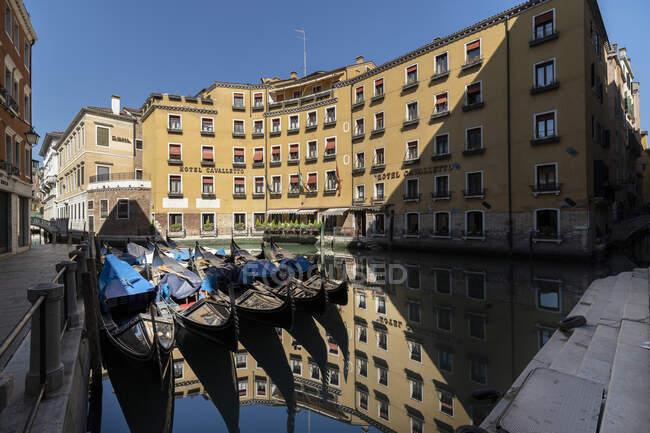 Bacino Orseolo during coronavirus quarantine, COVID-19 lifestyle, Venice, Veneto, Italy, Europe — Stock Photo