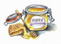 Miele in vaso, nido d'ape e bastoncino di miele su superficie bianca — Foto stock