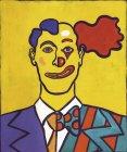 Porträt eines Mannes halb Geschäftsmann halb Clown — Stockfoto