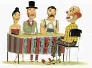 Цирковая панель опроса клоуна — стоковое фото