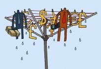 Businessmen and money drying on clothes line — Stock Photo