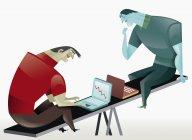 Бизнесмены используют ноутбуки на качелях — стоковое фото