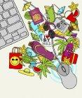 Souris d'ordinateur avec objets de vacances — Photo de stock