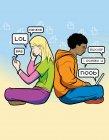 Adolescentes sentados espalda con espalda comunicándose a través de dispositivos móviles en la jerga de Internet - foto de stock