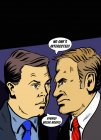 Businessmen arguing in speech bubbles — Stock Photo