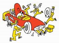 Mechanics maintaining racing car — Stock Photo