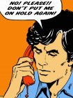 Frustrated man on telephone talking in speech bubble — Stock Photo