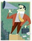 Businessman talking into bullhorn — Stock Photo