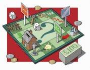Mann auf Geld und Immobilien-Spielbrett — Stockfoto