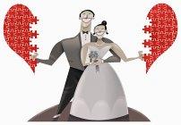 Жених и невеста с сердцем-головоломкой — стоковое фото