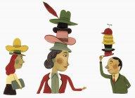 Uomini d'affari con molti cappelli — Foto stock