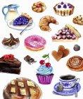 Variación de pasteles y dulces - foto de stock