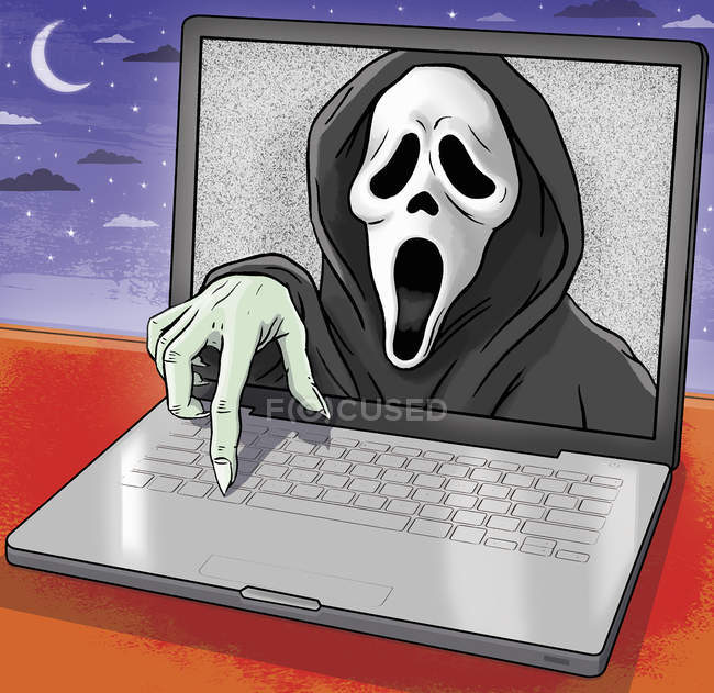 Scream emerging from laptop monitor — Stock Photo