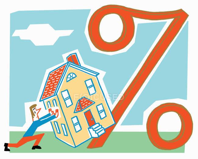 Homem empurrando casa contra grande sinal percentual — Fotografia de Stock