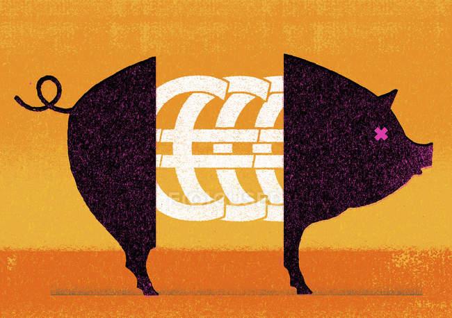 Символы евро посреди свиньи — стоковое фото