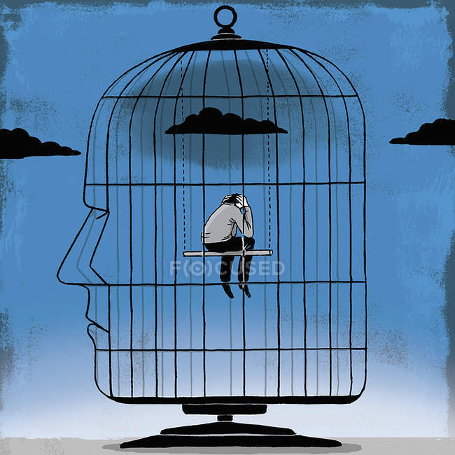 Depressed man inside head-shaped birdcage — Stock Photo