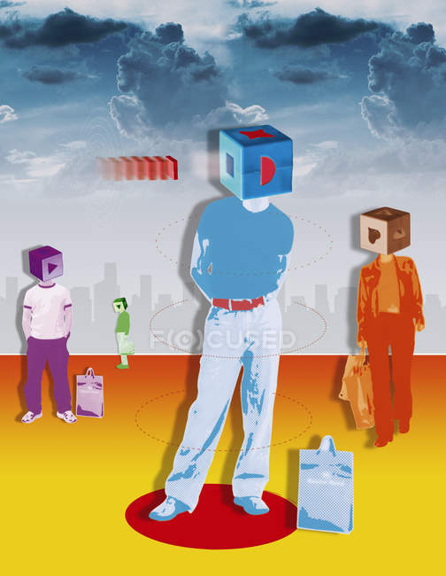 Consumidores con cajas que cubren cabezales - foto de stock