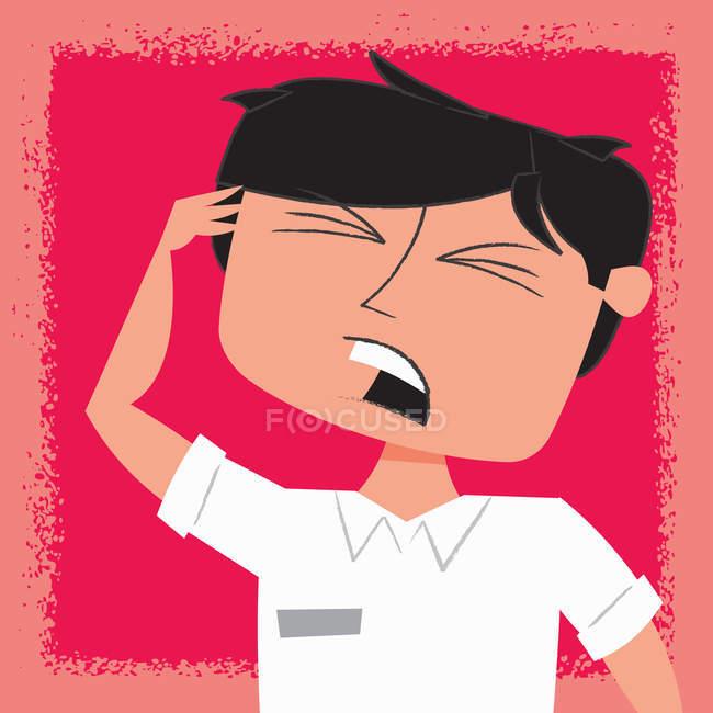 Uomo irritato con la testa in mano — Foto stock
