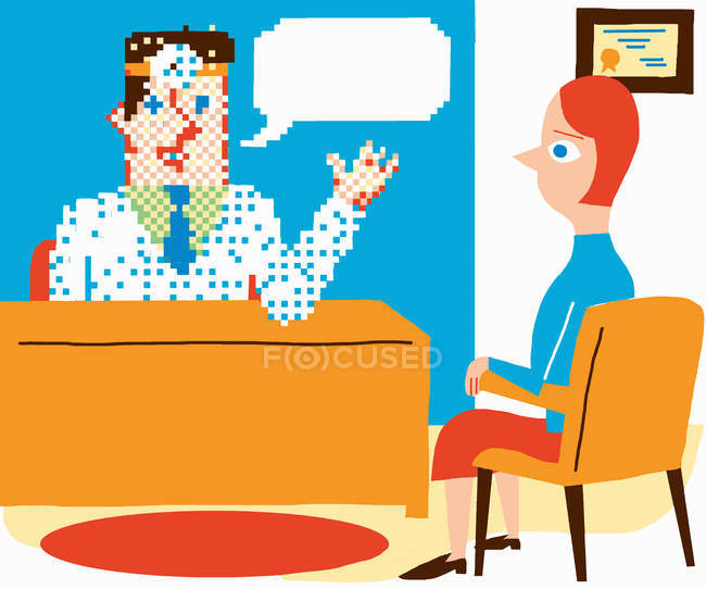 Пикселированный мужчина за столом разговаривает с женщиной — стоковое фото