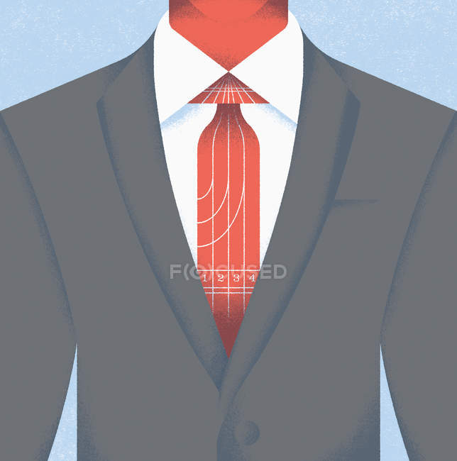 Close-up of businessman in suit wearing racetrack tie — Stock Photo