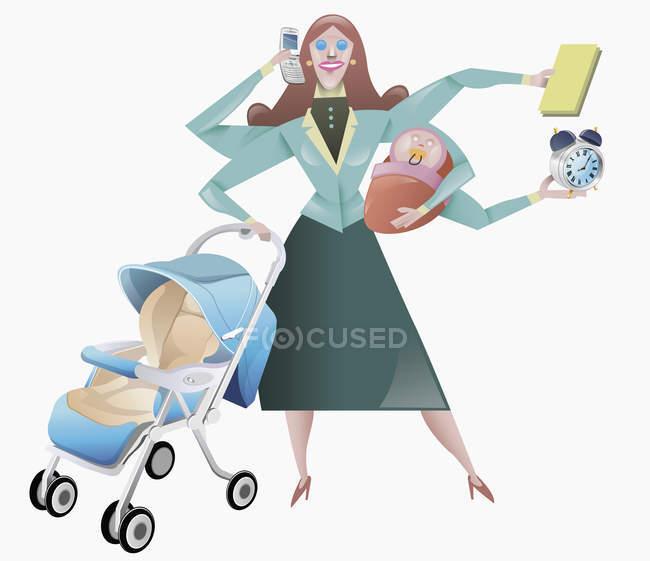Frau jongliert mit häuslichen Verpflichtungen — Stockfoto