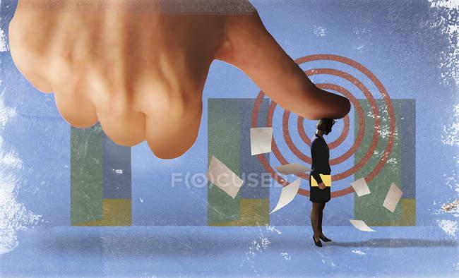 Geschäftsfrau unter großem Druck verliert Papiere — Stockfoto