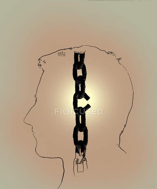 Quebrando elo cadeia dentro do perfil do homem — Fotografia de Stock