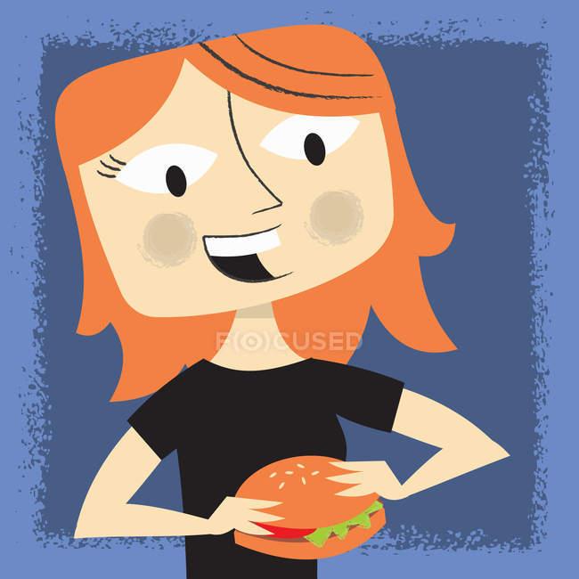 Woman eating hamburger on blue background — Stock Photo