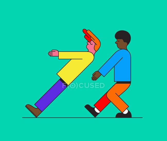 Junge fällt auf Freund, der ihn aufholt — Stockfoto