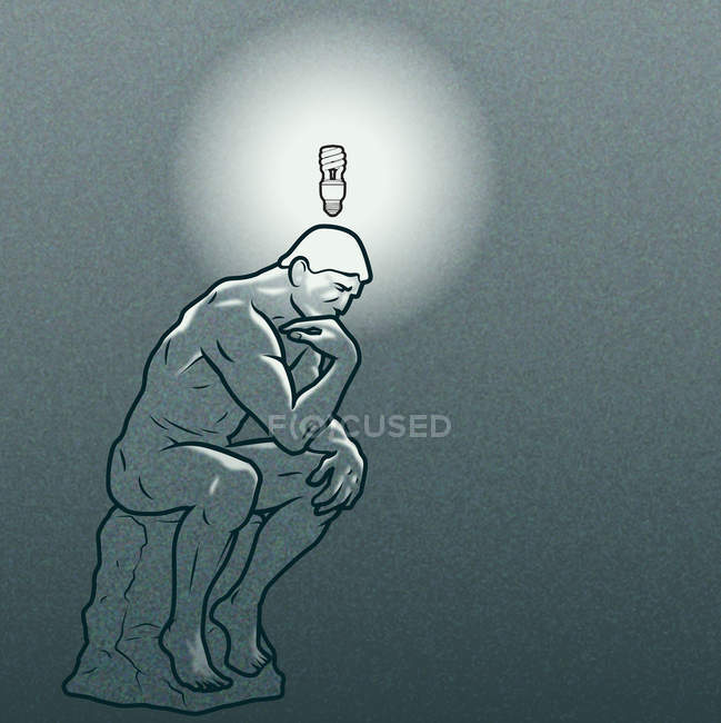 Thinker statue with energy-saving light bulb above his head — Stock Photo