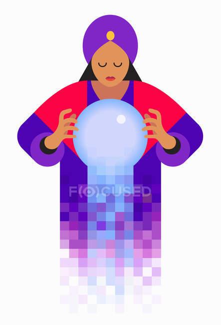 Фортуна касговоритдер глядя в хрустальный шар — стоковое фото