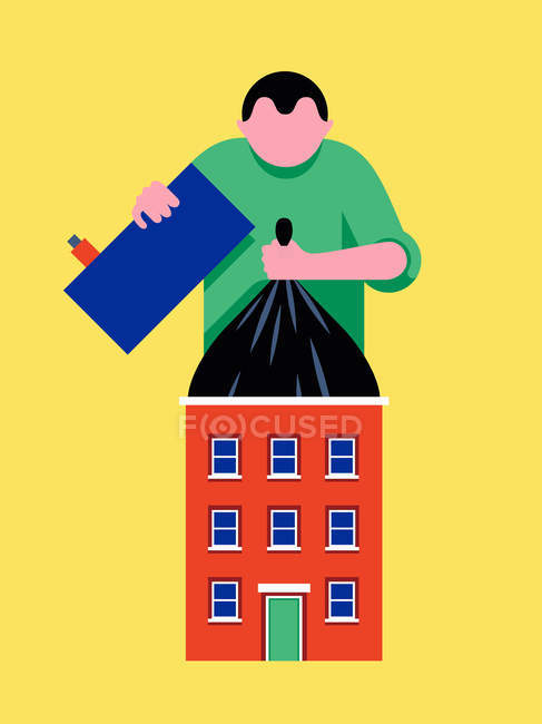 Person lifting large rubbish bag from house — Stock Photo