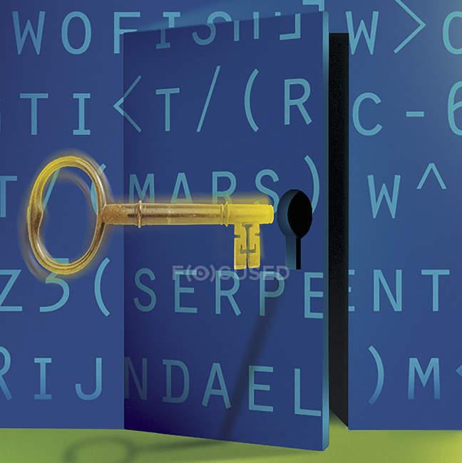 Goldener Schlüssel öffnet verschlüsselte Tür — Stockfoto