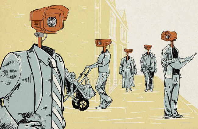 Люди носять CCTV камери, як глави — стокове фото