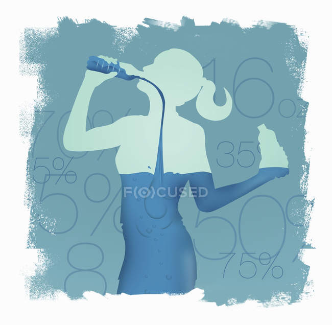 Woman drinking water from bottle and filling her body — Stock Photo
