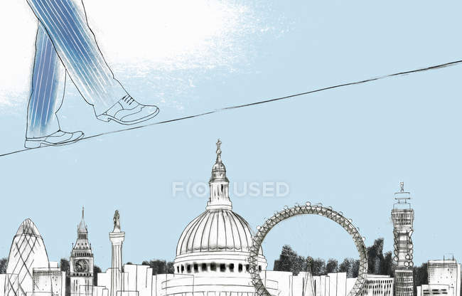 Businessman walking on tightrope above sights of London — Stock Photo