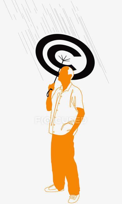 Homem que prende o guarda-chuva dos direitos reservados — Fotografia de Stock