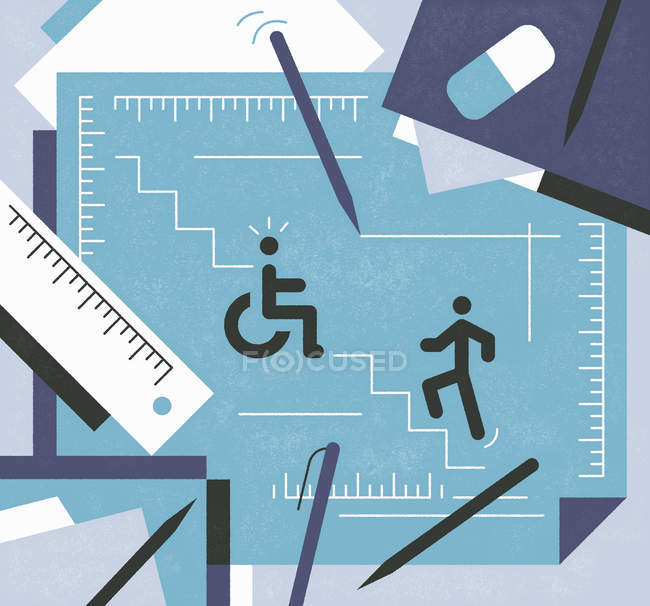 Figure walking upstairs and handicapped figure in wheelchair — Stock Photo