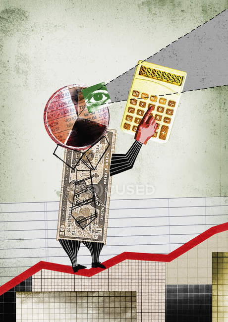 Empresario monetario en la tabla de crecimiento - foto de stock