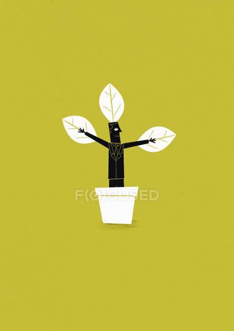 Businessman growing in flowerpot — Stock Photo