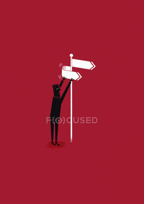 Man changing the direction at a signpost — Stock Photo