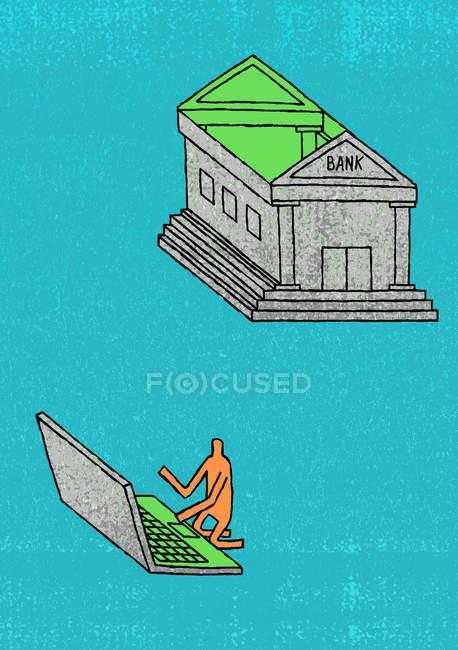 Mann benutzt Dach der Bank als Laptop — Stockfoto