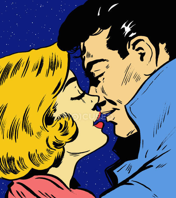 Close up of couple kissing under night sky — Stock Photo