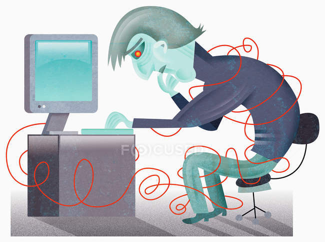 Man at computer in tangle of cords — Stock Photo