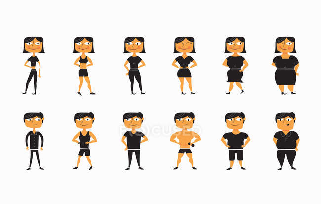 Sequence of men and women from thin to overweight — Stock Photo