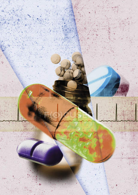Assorted prescription pills, abstract background — Stock Photo