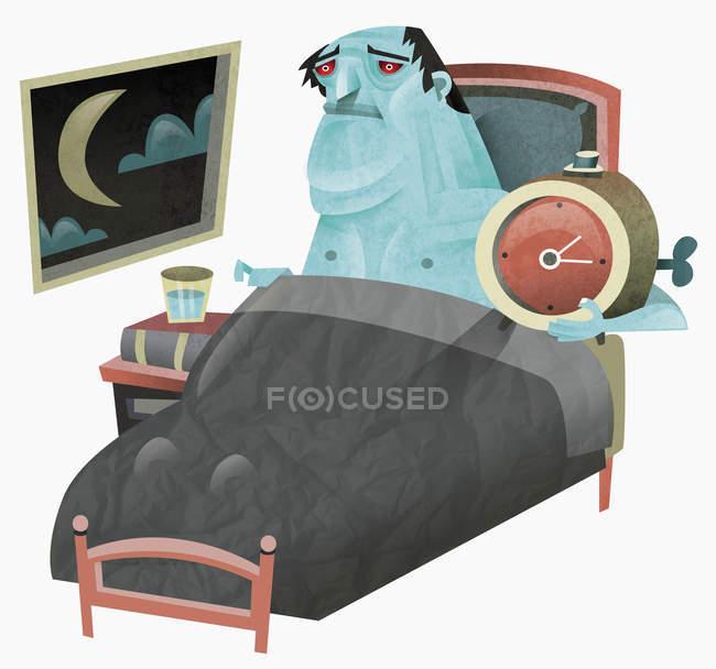 Больной человек в постели держит будильник — стоковое фото