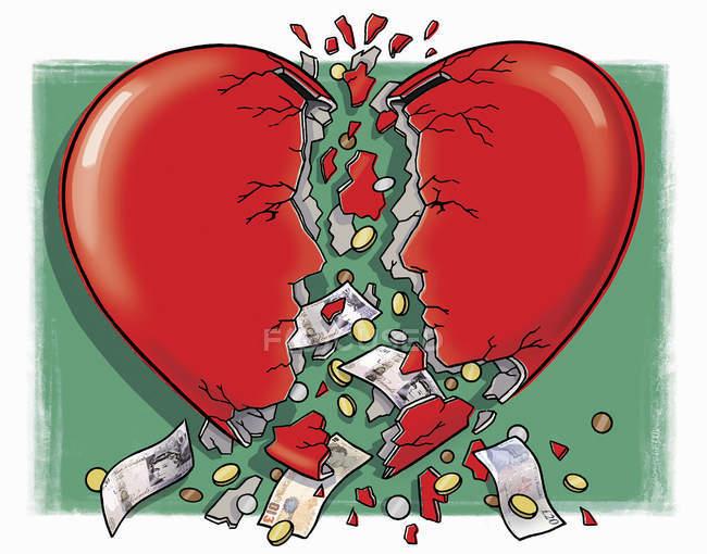 Argent tombant hors de la boîte d'argent de coeur cassée — Photo de stock