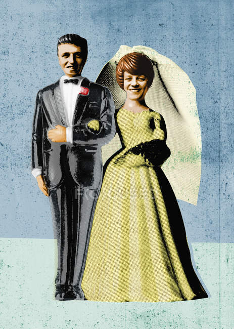 Bride and groom on blue retro background — Stock Photo