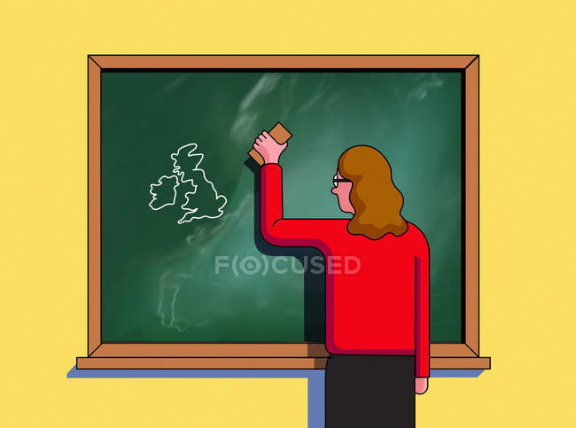 Professor que apaga a União Européia e que deixa o mapa de Ilhas Britânicas — Fotografia de Stock